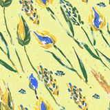 Seamless pattern with flowers and ears Royalty Free Stock Photo