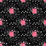 Seamless Pattern with Flowers for Fabric, Textile, Book Cover, Cloth. Vintage Wallpaper Rapport. Summer Feminine Ornament on Black. Background. Big Stock Photo
