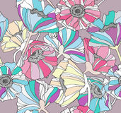 Seamless pattern with flowers.Floral background. Royalty Free Stock Photo