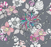 Seamless pattern with flowers. Floral background Royalty Free Stock Image
