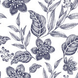 Seamless pattern with flowers. Floral seamless pattern. Design for fabrics, textiles, wallpaper, paper. Vector. Victorian style. Black and white Stock Photos