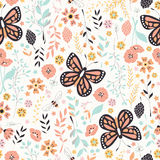 Seamless pattern with flowers, floral elements and butterflies Stock Image