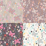 Seamless pattern with flowers, floral elements and butterflies, Royalty Free Stock Photos