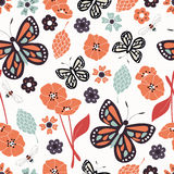 Seamless pattern with flowers, floral elements and butterflies, Stock Photos