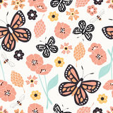 Seamless pattern with flowers, floral elements and butterflies, Royalty Free Stock Image