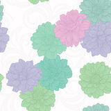 Seamless pattern with flowers . Floral ornament. Hand-drawn contour lines and strokes. Stock Image