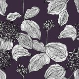 Seamless pattern with flowers on the dark background. Graphics stock illustration