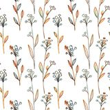 Seamless pattern with flowers and grass Stock Photo