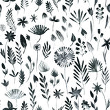 Seamless pattern with flowers and grass Stock Images