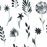 Seamless pattern with flowers and grass Royalty Free Stock Photo
