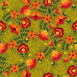 Seamless pattern with flowers in green, red, orange and yellow colors. Background with flat shapes. Texture in ethno style. Vector illustration Royalty Free Illustration