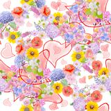 Seamless pattern with flowers. Seamless  pattern with flowers and hearts Stock Photos