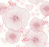 Seamless pattern with flowers and hearts Royalty Free Stock Photography