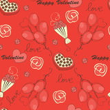 Seamless pattern with flowers and hearts. Valentine day illustration Stock Photos