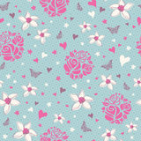 Seamless pattern with flowers, hearts and butterfl Royalty Free Stock Images
