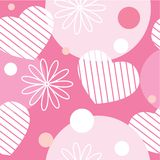 Seamless pattern with flowers, hearts and circles Royalty Free Stock Photo