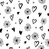 Seamless pattern with flowers and hearts. Hand drawn ink  seamless pattern with flowers and hearts. Vector illustration Royalty Free Stock Photos