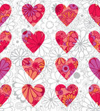 Seamless pattern flowers hearts. Royalty Free Stock Photo