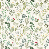 Seamless pattern of flowers, herbs and leaves. Seamless pattern of branches, flowers, herbs and leaves. Hand drawn vector illustration of can be used for Stock Images