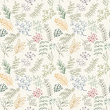 Seamless pattern of flowers, herbs and leaves. Seamless pattern of branches, flowers, herbs and leaves. Hand drawn vector illustration of can be used for Royalty Free Stock Images