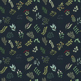 Seamless pattern of flowers, herbs and leaves. Seamless pattern of branches, flowers, herbs and leaves. Hand drawn vector illustration of can be used for Royalty Free Stock Image