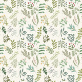 Seamless pattern of flowers, herbs and leaves. Seamless pattern of branches, flowers, herbs and leaves. Hand drawn vector illustration of can be used for Stock Photo