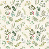 Seamless pattern of flowers, herbs and leaves. Seamless pattern of branches, flowers, herbs and leaves. Hand drawn vector illustration of can be used for Stock Image