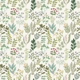 Seamless pattern of flowers, herbs and leaves. Seamless pattern of branches, flowers, herbs and leaves. Hand drawn vector illustration of can be used for Stock Photography