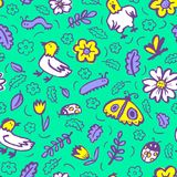 Seamless pattern with flowers and insects. Floral background wit. H sketchy butterfly, dragonfly, tulips, leaves, ladybirds. Vector illustration in doodle Stock Illustration