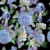 Seamless pattern with flowers. Iris. Alstroemeria. Hydrangea. Butterflies. Watercolor illustration. Royalty Free Stock Photos