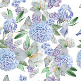 Seamless pattern with flowers. Iris. Alstroemeria. Hydrangea. Butterflies. Watercolor illustration. Stock Photo