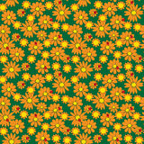 Seamless pattern of flowers and ladybirds Royalty Free Stock Photography