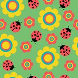 Seamless pattern with flowers and ladybirds on green stock illustration