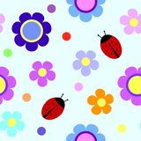 Seamless pattern with flowers and ladybugs Stock Photos