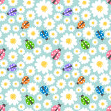 Seamless pattern flowers and ladybugs Royalty Free Stock Photo