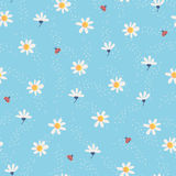 Seamless pattern with flowers and ladybugs stock illustration