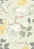 Seamless Pattern with Flowers and Leaves. Seamless pattern with dragonflies, flowers and leaves Stock Images