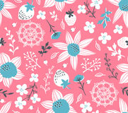 Seamless pattern with flowers, leaves, berries and lace. Endless background. Stylish fabric design. Vector summer template Stock Images