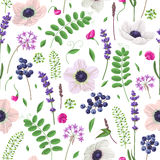 Seamless pattern with flowers, leaves and berries. Stock Images