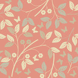 Seamless pattern with flowers,  leaves and butterflies Royalty Free Stock Images