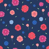 Seamless pattern with flowers and leaves on dark blue background . Vector illustration Royalty Free Stock Photo