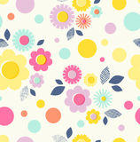 Seamless pattern with flowers, leaves and dots. Vector illustration Royalty Free Stock Image