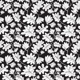 Seamless pattern with flowers and leaves. Floral background with vector illustration
