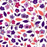 Seamless pattern with flowers, leaves and fruits of cherry vector illustration