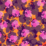 Seamless pattern with flowers and leaves of geranium. Royalty Free Stock Photography