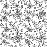 Seamless pattern with flowers and leaves Stock Photography