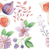 Seamless pattern with flowers and leaves. Seamless pattern with hand painted watercolor flowers and leaves in pastel colors inspired by garden plants. Romantic Stock Photography
