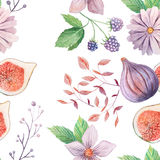 Seamless pattern with flowers and leaves. Seamless pattern with hand painted watercolor flowers and leaves in pastel colors inspired by garden plants. Romantic Stock Images