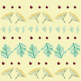 Seamless pattern with flowers, leaves and ladybirds Royalty Free Stock Photo