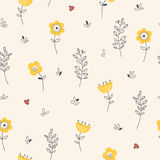 Seamless pattern with flowers, leaves and ladybugs Stock Photo